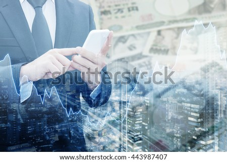 Double exposure of businessman connect internet network, Financial graph and cityscape with Japanese JPY Yen bank note pile background, Trading , Business and finance concept