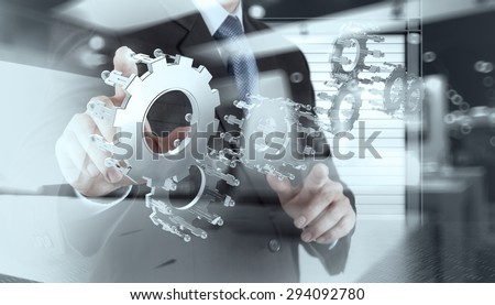 double exposure of businessman hand show human gear to success as concept - stock photo