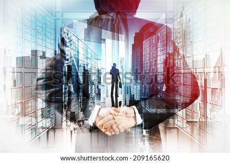 Double exposure of businessman hand showing leader on server background as concept - stock photo