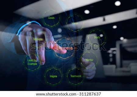 double exposure of businessman hand shows diagram of business success chart as concept