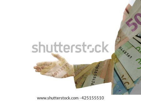 Double exposure of businessman in dark gray suit offer his right hand for handshake and money bill banknote. Represent that in business world, money is king, money is power and money is everything. - stock photo