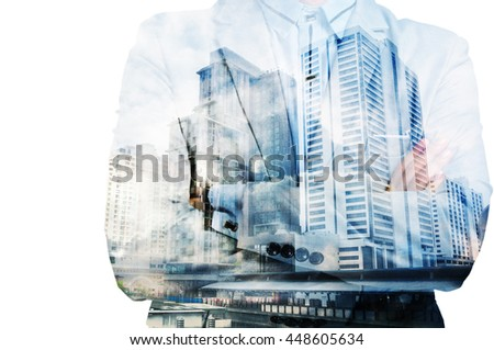 Double exposure of businessman in suit and cityscape as Business Development Concept - stock photo