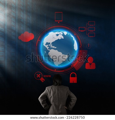 Double exposure of businessman looking at  modern technology as concept - stock photo