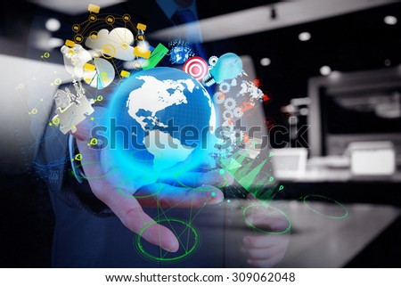 double exposure of businessman shows modern technology of business as concept - stock photo