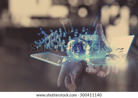 double exposure of businessman shows modern technology with social network diagram as concept