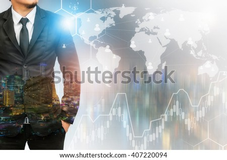 Double exposure of businessman with cityscape and financial graph,network and world map on blurred building background, Elements of this image furnished by NASA.