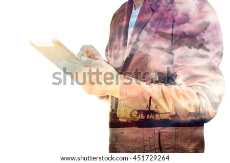 Double Exposure of Businessman with Digital Tablet and Port Cargo and Airplane as International Transportation or import and Export Business concept