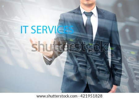 Double exposure of businessman with servers technology in data center in IT services concept - stock photo