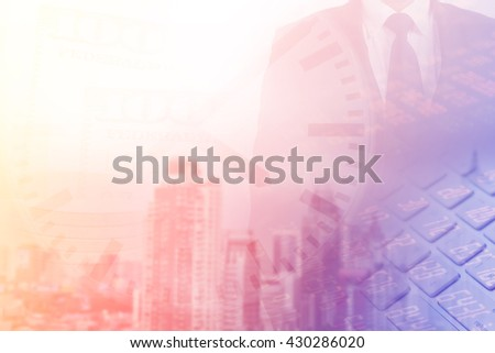 Double exposure of businessman with time and Bangkok city