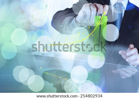double exposure of businessman working with business strategy graph and digital cloud network concept - stock photo