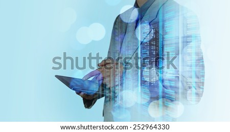 double exposure of businessman working with digital cloud network concept - stock photo