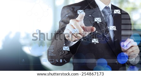 double exposure of businessman working with digital social media network concept