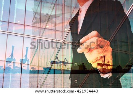 Double Exposure of Businessman writing and Port Cargo and Airplane as International Transportation Business concept