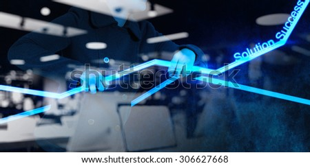 double exposure of businesswoman hand working with new interface computer graph as concept - stock photo