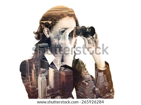double exposure of businesswoman with binocular and megalopolis, colored effect - stock photo