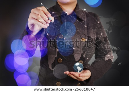 Double exposure of businesswoman working with new modern computer show social network structure as concept