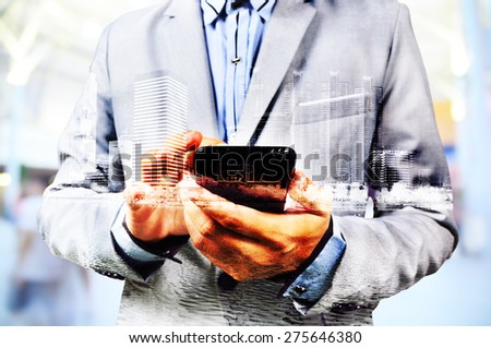 Double exposure of city and businessman on the phone as Business development concept. - stock photo