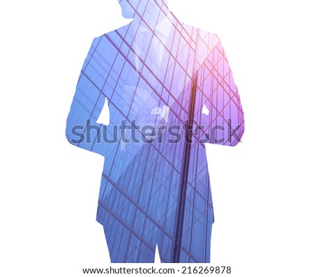 Double exposure of city and businessman wearing business suit
