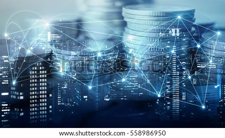 Double exposure of city , network or connection and rows of coins for finance and business concept