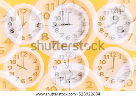 Double Exposure of Clock,  Clock Background, Set of Clock on Orange Background