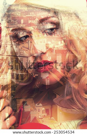 Double exposure of closeup girl portrait and cityscape