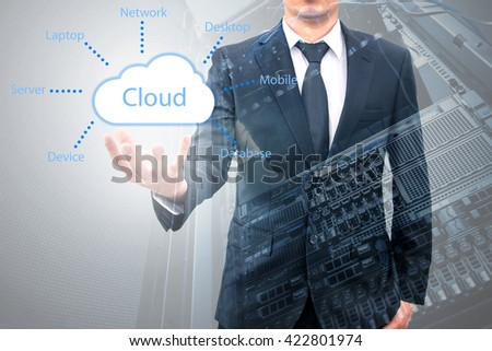 Double exposure of cloud computing concept on hand of a businessman with servers computing technology in data center creative cloud concept - stock photo