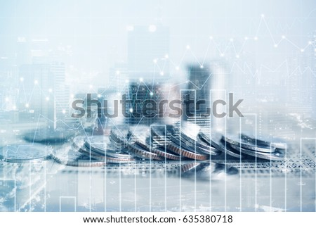 Double exposure of coins and city background for finance and banking concept