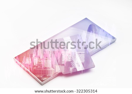 Double exposure of credit card on smartphone. Business and travel concept. Vintage style filtered picture
