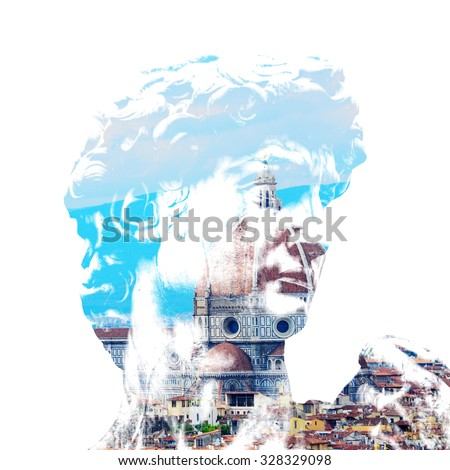 double exposure of David's face and Santa Maria del Fiore in Florence on a clear springtime day, Italy - stock photo
