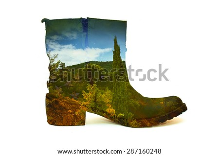 Double exposure of female boots and summer landscape. Isolated on white background, collage - stock photo