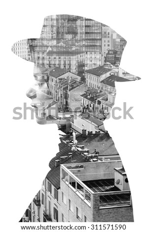 Double exposure of girl wearing hat and cityscape monochrome - stock photo