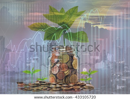Double exposure of Gold coins and seed in clear bottle on photo blurred cityscape background, Business investment growth concept - stock photo