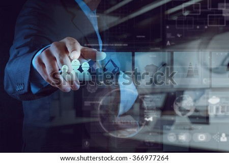 double exposure of Industrial engineer hand working with the new computer screen as concept - stock photo