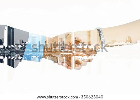double exposure of man and woman shaking their hands on  a white background - stock photo