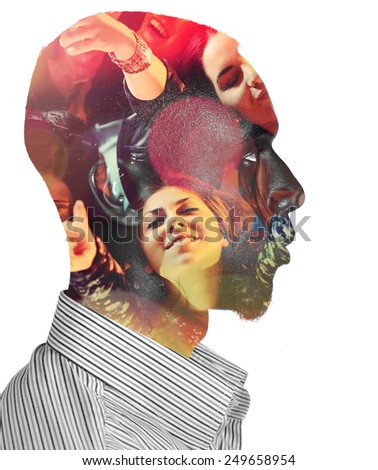 Double exposure of man with girls at party concert in head - stock photo