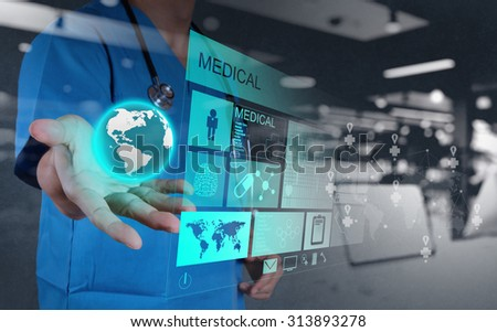 double exposure of Medicine doctor hand  working with modern computer interface as concept - stock photo