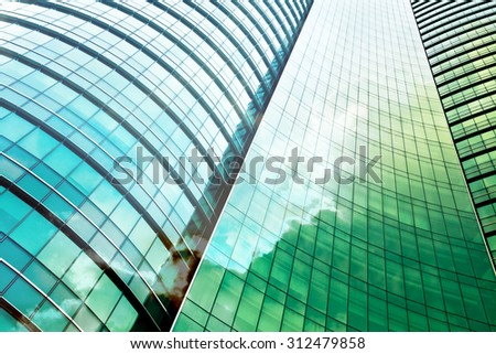 double exposure of modern office building - stock photo