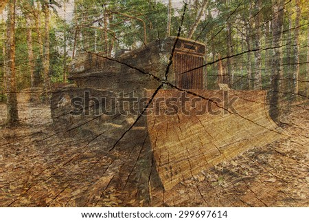 Double exposure of Old bulldozer tractor  and Cut tree trunk.  - stock photo