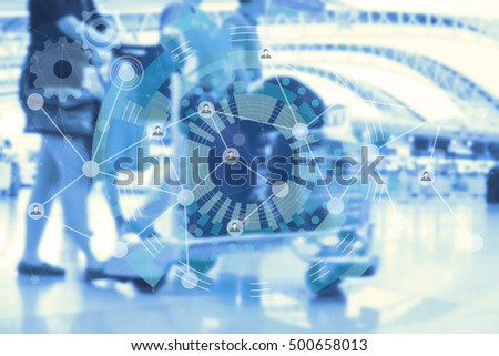 Double exposure of  people and graphic design of internet of things use for brochure or report cover