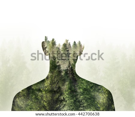 Double exposure of person and Digital Illustration 3d Rendered forest