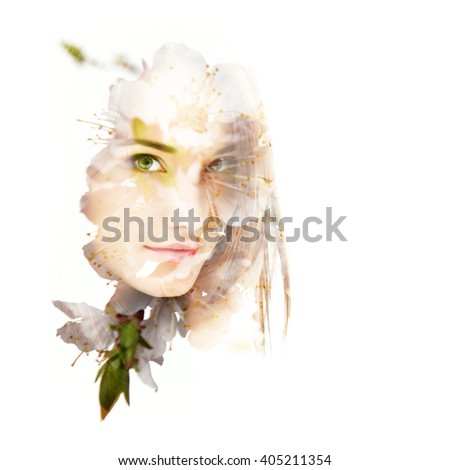 Double exposure of portrait of young beautiful girl and blooming cherry flowers. Youth and freshness concept.