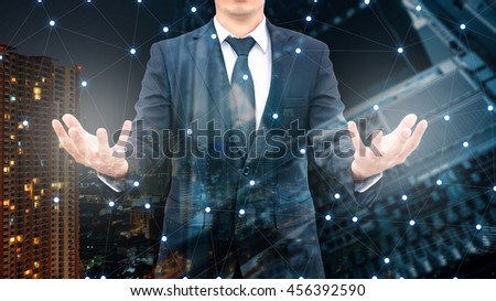 Double exposure of professional businessman and network connection with server datacenter in communication , technology and business concept - stock photo