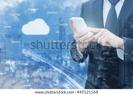 Double exposure of professional businessman connecting cloud internet smart phone with servers technology and connect world network in Information Technology Business concept - stock photo