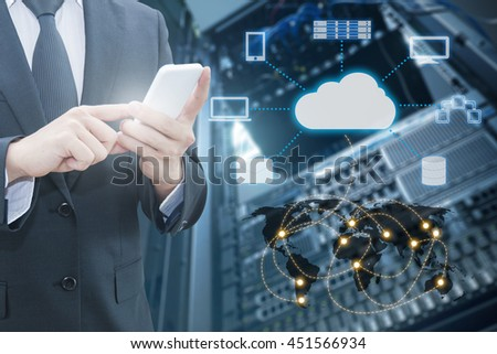 Double exposure of professional businessman connecting cloud internet smart phone with servers technology and connect world network in IT Business concept, element of this image furnished by NASA