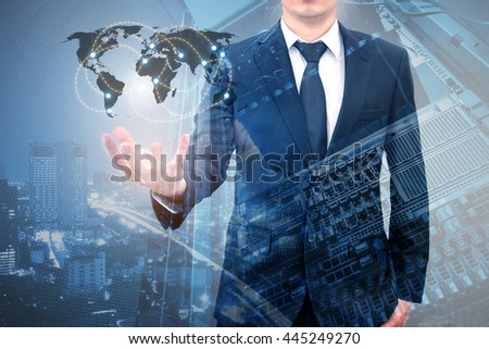 Double exposure of professional businessman connecting internet network with servers computer storage technology in Technology, communication, business concept, element of this image furnished by NASA - stock photo