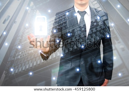 Double exposure of professional businessman padlock security protection data safety and network connection with cityscpae in communication , technology and business concept