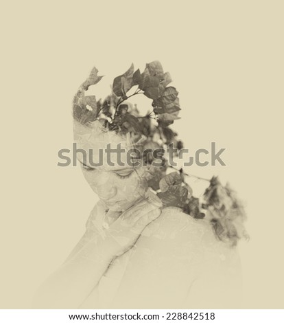 Double exposure of red flowers in the beautiful young woman. black and white image, vintage effect - stock photo