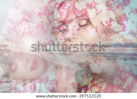 double exposure of reflection of sensual tender elegance young woman, beauty concept