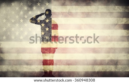 Double exposure of saluting soldier on USA grunge flag. Vintage, retro style. Patriotic design - stock photo