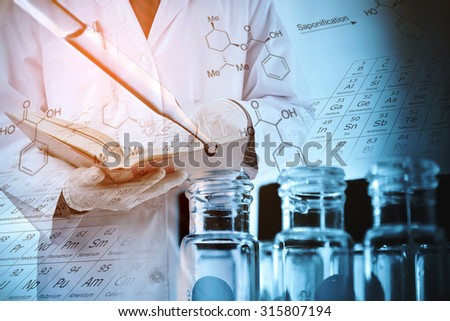 Double exposure of scientist and test tubes, laboratory concept